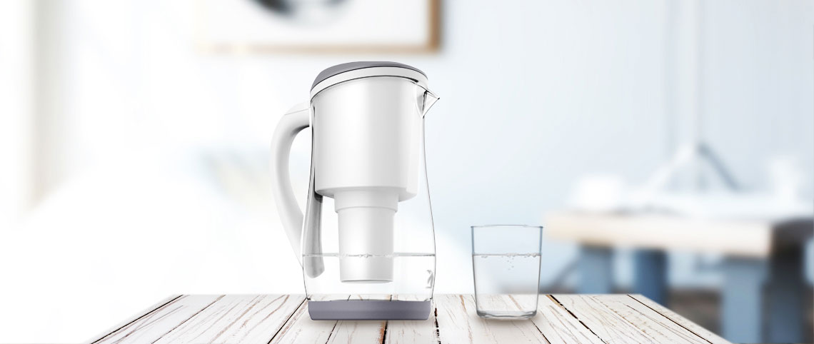 Gentoo Glass Alkaline Water Filter Jug (Grey and White)