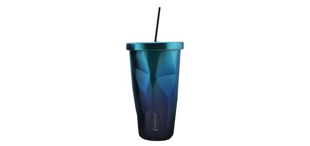 Stainless Steel Cup With Straw - Blue
